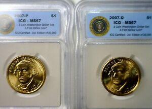 2007 pd 1st STRIKE ICG MS67 GW Presidential $1 Dollar GEM BU SLAB 2 Coin LOT  NR