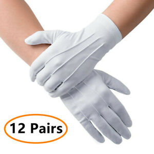 12 Pairs Marching Formal Honor Guard Parade Band Mittens White Working Gloves