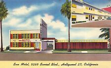 Linen Postcard Sun Motel in Hollywood, California~110358