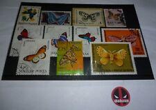 11 Schmetterling Falter Briefmarken - verschiedene Länder