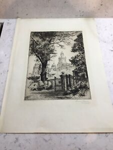 Manchester R.I. From the Park C1923 Leonard Brewer Signed Etching Listed