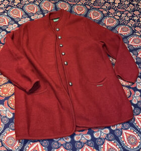 Geiger collection boiled wool jacket 42 12 maroon Red Silver Buttons Austria