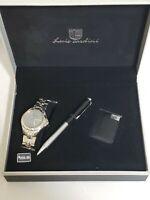 Men's Luis Cardini Watch  pen lighter Gift Set NEW stainless black silver