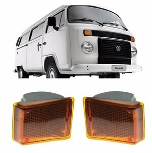 VW Bus Type 2 COMPLETE Assembly Turn Signal Light 2pc Pair Orange Amber 73-79 T2
