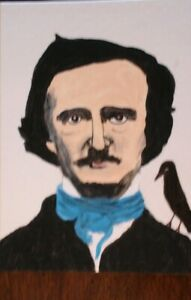 """ACEO ORIGINAL ART """"EDGAR ALLEN POE AND THE RAVEN"""" PAINTED BY ME ARTIST LB"""