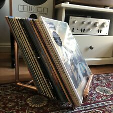 """Copper Vinyl 12"""" LP Record Stand Storage Holder Pipe Industrial Retro Appeal"""