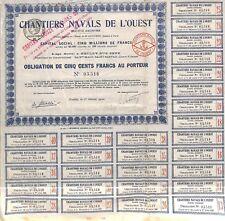""""""" CHANTIERS NAVALS DE L' OUEST """" ST MALO ST SERVAN SCRIPOPHILIE OBLIGATION 1920"""