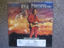 """JOHN ENTWISTLE """"TOO LATE THE HERO"""" 1981 ATCO NM/VG OOP LP PROMO W/TIMING STRIP"""