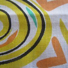 50CM X 91CM Vintage cotton fabric 1960s Novelty Swirls Yellow Green Sewing Craft