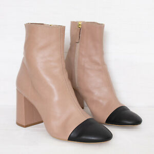 Topshop UK 7 EU 40 Nude & Black Leather Toe Cap Ankle Boots