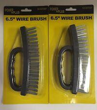 "2 Of 6.5"" inch Wire Brush Plastic Grip (Black)"
