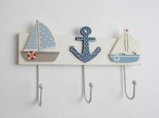 Wooden Nautical 3 Towel Hooks White Blue Bathroom Coat Rack Seaside Anchor Boat