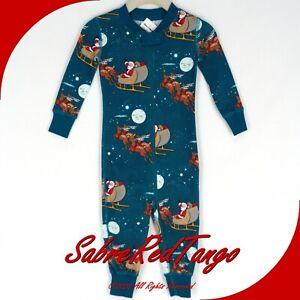 NWT HANNA ANDERSSON ORGANIC BABY SLEEPER ZIPPER SLEIGH RIDE PRINT 75 12-18 M
