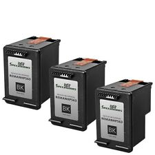 3 Pk Reman replacement for HP 60XL / CC641WN High Yield Black Ink Cartridge