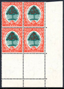 South Africa 1933-48 6d green & vermilion die II, corner block SG.61c, VFM c.£90