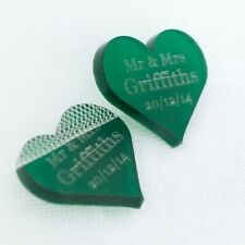 Personalised Green Frosted Acrylic Heart Wedding table Decorations, Gift Favours