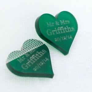 Personalizado Verde Esmerilado Acrílico Corazón Boda Decoración Mesa, Regalo