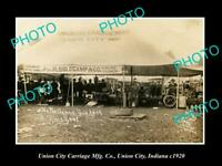 OLD POSTCARD SIZE PHOTO OF UNION CITY INDIANA THE UNION CITY Mfg Co TENT c1920