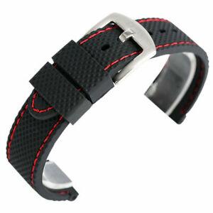 Black/Blue Bracelet Waterproof Silicone Rubber Watch Strap 18/20/22/24mm Band