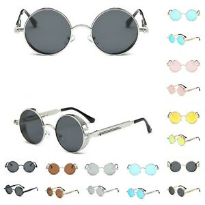 Vintage Mirror  Steampunk Sunglasses Mens Brand Design Round UV400 Sun glasses