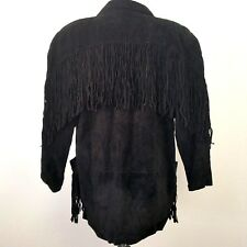 Phoenix Suede Leather Fringe Western Coat Boho Long Jacket Size Large