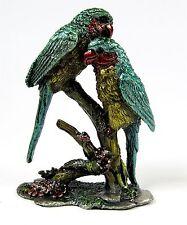 Miniature Parrot Figurine Metal Base Birds Pair of  Blue/Green Parrots on Branch