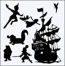 PETER PAN, SHIP ETC MYLAR  REUSEABLE STENCIL - APPROX 6 x 6 WITH INNER BITS
