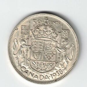 CANADA 1938 50 CENTS HALF DOLLAR KING GEORGE VI 800 SILVER CANADIAN COIN