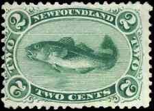 Newfoundland #24 mint F-VF NG 1870 Codfish 2c green CV$100.00