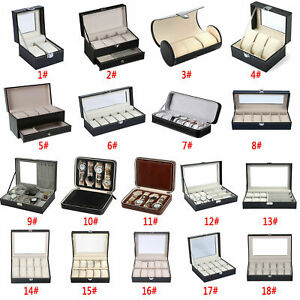 6/8/10 Grids Leather Watch Display Case Jewelry Collection Storage Holder Box UK