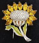 Vintage 1940's DUJAY Glass Pave Rhinestone & Enamel Sunflower Dress Fur Clip