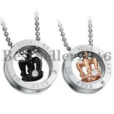 "His and Hers ""Keep me in your Heart"" Crown Ring Pendant Couple Promise Necklace"