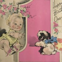 Vintage Mid Century Birthday Greeting Card Rust Craft Cute Baby One Year Old