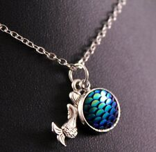 Alloy Mermaid/Blue Fish Scale Pendant Necklace w/Free Jewelry Box/Shipping