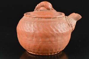 L1182: XF Japan Old Tokoname-ware Brown pottery Shrimp TEAPOT Kyusu Sencha, auto