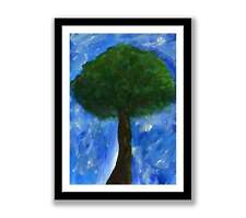 Abstract green tree  - Acrylic abstract painting unique gift (Print) ID : 1449