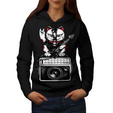 Wellcoda Cat Kitten Rock Star Womens Hoodie, Music Casual Hooded Sweatshirt