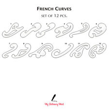FRENCH SHIP CURVES SET OF 12 Rulers Technical Drawing Stencil Template