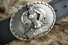 Gürtelschließe Skull Gasmask Totenkopf für 4 cm Gürtel silberfarbig Biker massiv