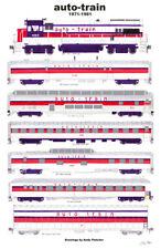 "Auto-Train 11""x17"" Railroad Poster Andy Fletcher signed"