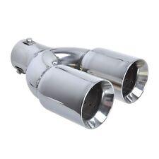 Auspuffblende Edelstahl 2x 76mm Endrohr universell Duplex Doppel Rohr 40-55mm