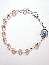 Rosary Bracelet Light Rose Crystal Beads Lady of Grace /Divine Mercy Charm Italy