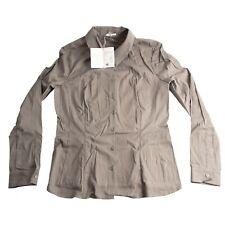 Wolford Seal Grey Durban Button Down Sateen Cotton Blouse EU 38 US 10 NWT $395