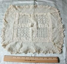 "Unusual Antique 19thC Lace & Embroidered Cream Cloth Or Doily~Dolls~L-13""X W-14"""