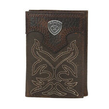 Mens Genuine Leather Multi Cards ID Ostrich Print Cowboy Trifold Wallet Red