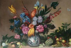 Oil painting nice still life plants in vase with flowers fruits hand painted art