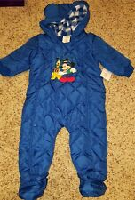 NEW Disney Baby Snow Suit Coverall One-Piece Fully Lined Mickey & Pluto Winter