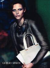 PUBLICITE ADVERTISING 045  2014  GIORGIO ARMANI  haute couture sac & veste cuir