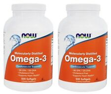 NOW Foods Omega-3 Molecularly Distilled Fish Oil , 500 Softgels-2 Pack