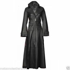 Beautiful 100% Cow Soft Leather Women Steampunk Gothic Stylish Long Trench Coat